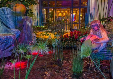 each year: LAS VEGAS - FEB 14 : Chinese New year in Bellagio Hotel Conservatory & Botanical Gardens on Februery 14 2016 in Las Vegas. There are five seasonal themes that the Conservatory undergoes each year.