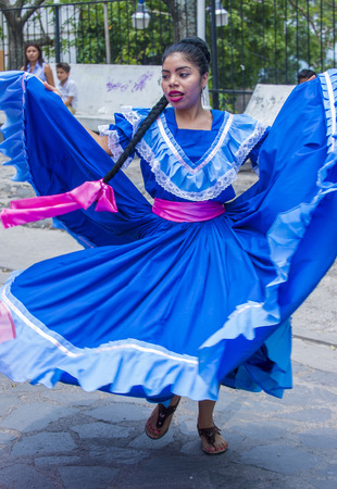 cristian: PANCHIMALCO , EL SALVADOR - MAY 08 : Salvadoran dancer perform during the Flower & Palm Festival in Panchimalco, El Salvador on May 08 2016