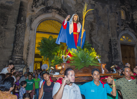 christianity palm sunday: GRANADA , NICARAGUA - MARCH 20 : Unidentified Nicaraguan take part in the Palm sunday procession in Granada Nicaragua on March 20 2016. Palm sunday marks the beginning of the Holy week.
