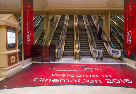 caesars palace: LAS VEGAS - April 13 : The CinemaCon show at the Caesars Palace in Las Vegas on April 13 2016. CinemaCon is the official convention of the National Association of Theatre Owners. Editorial