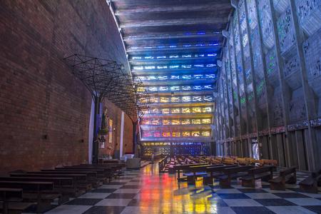 SAN SALVADOR , EL SALVADOR  - MAY 06 : The Iglesia El Rosario in San Salvador , El Salvador on May 06 2016.  The church designed by sculptor Ruben Martinez and completed in 1971