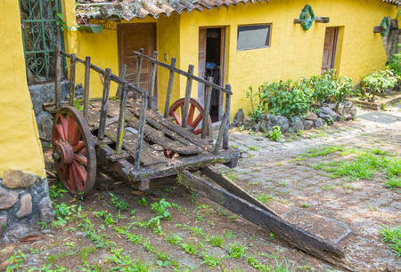 spaniards: SUCHITOTO , EL SALVADOR - MAY 07 : Old wagon in the street of Suchitoto El Salvador on May 07 2016. the colonial town of Suchitoto built by the Spaniards in the 18th century Editorial