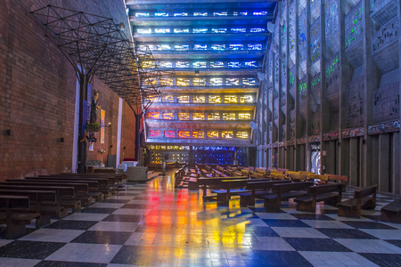 martinez: SAN SALVADOR , EL SALVADOR  - MAY 06 : The Iglesia El Rosario in San Salvador , El Salvador on May 06 2016.  The church designed by sculptor Ruben Martinez and completed in 1971