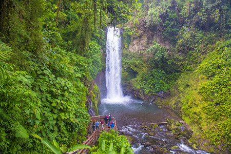 la paz: LA PAZ , COSTA RICA - MARCH 22 : Waterfall at a tropical rainforest in La Paz Waterfall Gardens Costa Rica on March 22 2016. La Paz Waterfall Gardens is the Most Visited Privately Owned Ecological Attraction in Costa Rica Editorial