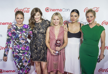 caesars palace: LAS VEGAS - APRIL 14 : (L-R) Actreses Annie Mumolo , Kathryn Hahn, Kristen Bell, Mila Kunis and Christina Applegate, attend the CinemaCon Big Screen Achievement Awards at The Caesars Palace on April 14 2016 in Las Vegas