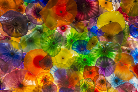 chihuly: LAS VEGAS - MAY 21 : The Hand Blown Glass Flower Ceiling at the Bellagio Hotel on May 21, 2016 in Las Vegas. It is comprised of 2,000 glass blossoms by glass sculptor Dale Chihuly