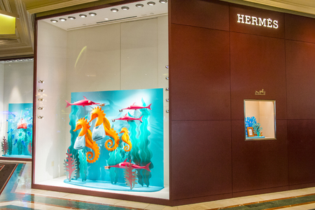 the existing: LAS VEGAS - MAY 21 : Exterior of a Hermes store in Las Vegas strip on May 21 , 2016. Hermes is famous luxury brand existing since 1837. Editorial