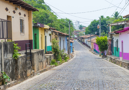 SUCHITOTO , EL SALVADOR - MAY 07 : Street view of Suchitoto El Salvador on May 07 2016. the colonial town of Suchitoto built by the Spaniards in the 18th century Editorial
