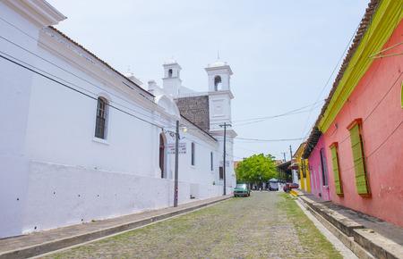 spaniards: SUCHITOTO , EL SALVADOR - MAY 07 : Street view of Suchitoto El Salvador on May 07 2016. the colonial town of Suchitoto built by the Spaniards in the 18th century Editorial