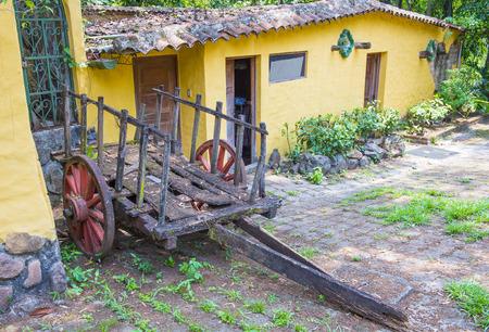 spaniards: SUCHITOTO , EL SALVADOR - MAY 07 : Old wagon in the street of Suchitoto El Salvador on May 07 2016. the colonial town of Suchitoto built by the Spaniards in the 18th century Editorial