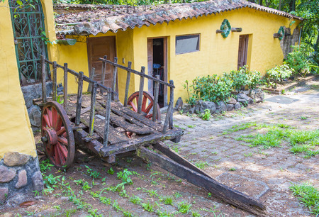 SUCHITOTO , EL SALVADOR - MAY 07 : Old wagon in the street of Suchitoto El Salvador on May 07 2016. the colonial town of Suchitoto built by the Spaniards in the 18th century Editorial