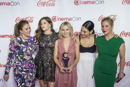 LAS VEGAS - APRIL 14 : (L-R) Actreses Annie Mumolo , Kathryn Hahn, Kristen Bell, Mila Kunis and Christina Applegate, attend the CinemaCon Big Screen Achievement Awards at The Caesars Palace on April 14 2016 in Las Vegas