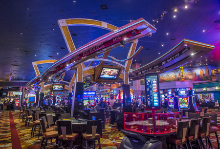 nv: LAS VEGAS - JUNE 14 : The interior of New York-New York Hotel & Casino in Las Vegas on June 14 , 2016. This hotel simulates the real New York City street and It was opened in 1997.