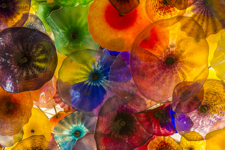 LAS VEGAS - MAY 21 : The Hand Blown Glass Flower Ceiling at the Bellagio Hotel on May 21, 2016 in Las Vegas. It is comprised of 2,000 glass blossoms by glass sculptor Dale Chihuly