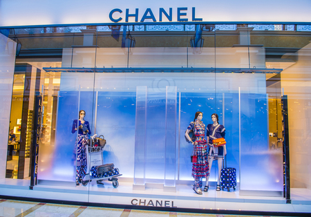 LAS VEGAS - MAY 21 : Exterior of a Chanel store in Las Vegas strip on May 21 , 2016. Chanel is famous French luxury brand founded in 1909 Editorial