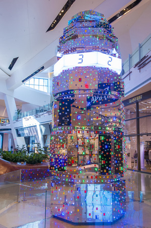 leds: LAS VEGAS - May 21 : The Tatsuo Miyajima HOTO Sculpture display at the Crystals mall in Las Vegas on May 21 2016. The sculpture is 18 feet tall and constructed out of 3,827 LEDs