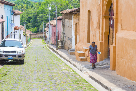 spaniards: SUCHITOTO , EL SALVADOR - MAY 07 : Street view of Suchitoto El Salvador on May 07 2016. the colonial town of Suchitoto built by the Spaniards in the 18th century Editorial