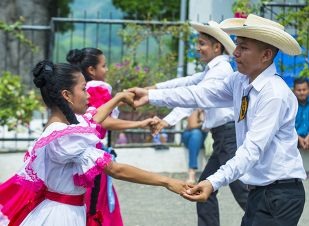 PANCHIMALCO , EL SALVADOR - MAY 08 : Salvadorian dancers perform during the Flower & Palm Festival in Panchimalco, El Salvador on May 08 2016 Editorial