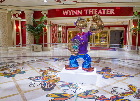 million dollars: LAS VEGAS - May 21 : The Jeff Koons Popeye Sculpture display at the Wynn Hotel in Las Vegas on May 21 2016. The sculpture purchased by Steve Wynn in May 2014 for $28.1 million dollars