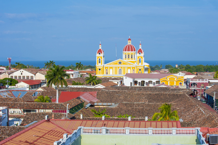 GRANADA , NICARAGUA - MARCH 20 : City view of Granada Nicaragua on March 20 2016. Granada was founded in 1524 and its the first European city in mainland America