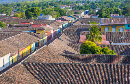adobe wall: GRANADA , NICARAGUA - MARCH 20 : The rooftops of Granada Nicaragua on March 20 2016. Granada was founded in 1524 and its the first European city in mainland America