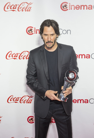 arts culture and entertainment: LAS VEGAS - APRIL 14 : Actor Keanu Reeves, recipient of the Vanguard Award, attends the CinemaCon Big Screen Achievement Awards at The Caesars Palace on April 14 2016 in Las Vegas