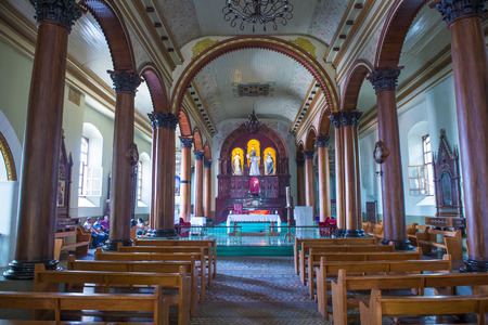 SUCHITOTO , EL SALVADOR  - MAY 07 : The Santa Lucia church interior in Suchitoto , El Salvador on May 07 2016.  It took 9 years to build the church and it was finally completed in 1853