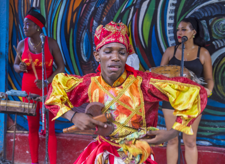 originated: HAVANA, CUBA - JULY 18 : Rumba dancer in Havana Cuba on July 18 2016. Rumba is a secular genre of Cuban music involving dance, percussion, and song. It originated in the northern regions of Cuba