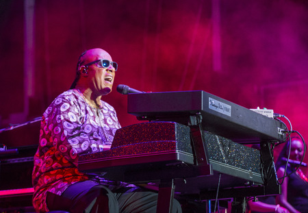 Muzikant Stevie Wonder voert onstage tijdens dag 1 van de 2015 Life Is Beautiful Festival op 25 september 2015 in Las Vegas, Nevada.