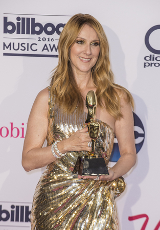LAS VEGAS - MAY 22 : Honoree Celine Dion, recipient of the Icon Award poses in the press room at the 2016 Billboard Music Awards on May 22, 2016 in Las Vegas