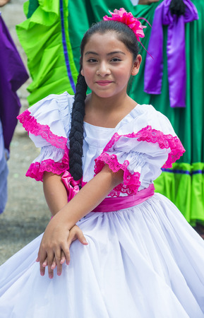 PANCHIMALCO , EL SALVADOR - MAY 08 : Salvadoran dancer perform during the Flower & Palm Festival in Panchimalco, El Salvador on May 08 2016