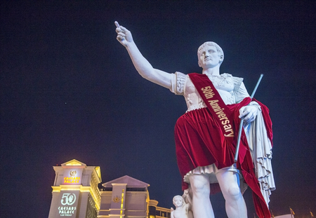 LAS VEGAS - JUNE 22 : The Caesars Palace hotel and casino on June 22, 2016 in Las Vegas. The Caesars Palace celebrates the 50th Anniversary With  Walking Tour , Photo Exhibit , Marquee Events And More Editorial