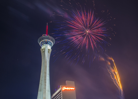 stratosphere: LAS VEGAS - JULY 04 : The Stratosphere tower fireworks show as part of the 4th of July celebration in Las Vegas on July 04 2016