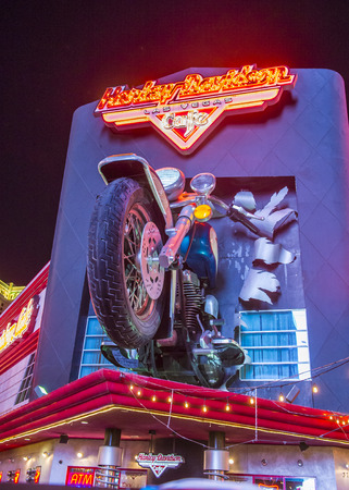 LAS VEGAS - MAY 21 : The Harley Davidson Cafe in Las Vegas strip on May 21 2016. In the facade there is a 7.1:1 scale replica Sportster weighing 1,200 lbs and measuring 32 feet. Editorial