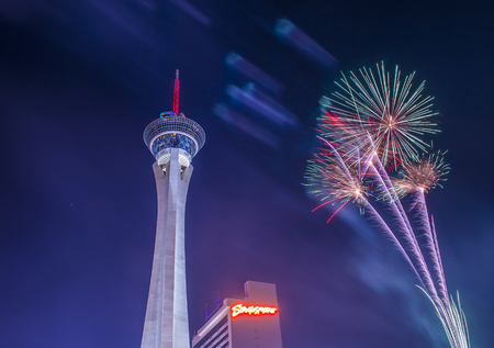 fire crackers: LAS VEGAS - JULY 04 : The Stratosphere tower fireworks show as part of the 4th of July celebration in Las Vegas on July 04 2016