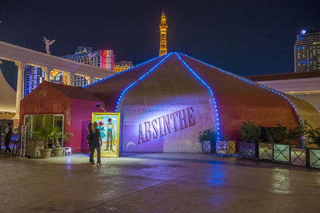 ajenjo: LAS VEGAS - JUNE 22 : The Absinthe theatre at the Las Vegas strip on June 22 2016. Absinthe is a live show that premiered in 2006 and is playing on the forecourt of Caesars Palace , Las Vegas Editorial