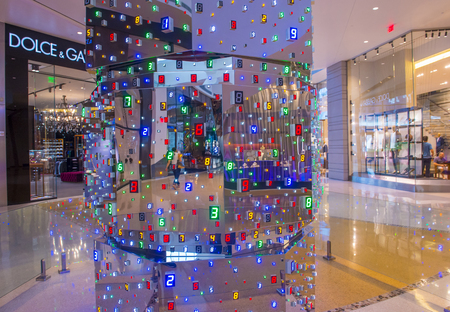LAS VEGAS - May 21 : The Tatsuo Miyajima HOTO Sculpture display at the Crystals mall in Las Vegas on May 21 2016. The sculpture is 18 feet tall and constructed out of 3,827 LEDs