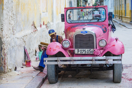 HAVANA, CUBA - JULY 18 : Old classic American car on one of Havana's streets on July 18 2016. There is nearly 60,000 vintage American cars in Cuba Editorial