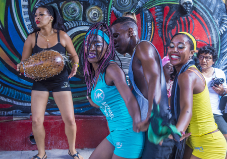 secular: HAVANA, CUBA - JULY 18 : Rumba dancers in Havana Cuba on July 18 2016. Rumba is a secular genre of Cuban music involving dance, percussion, and song. It originated in the northern regions of Cuba Editorial