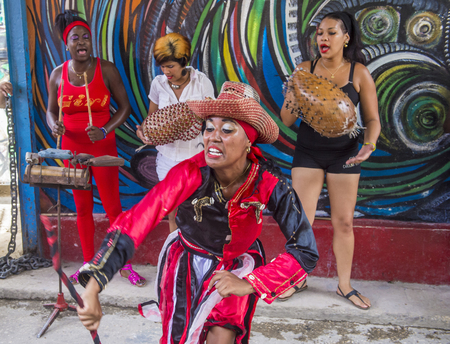 HAVANA, CUBA - JULY 18 : Rumba dancers in Havana Cuba on July 18 2016. Rumba is a secular genre of Cuban music involving dance, percussion, and song. It originated in the northern regions of Cuba Editorial