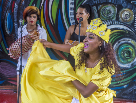 involving: HAVANA, CUBA - JULY 18 : Rumba dancer in Havana Cuba on July 18 2016. Rumba is a secular genre of Cuban music involving dance, percussion, and song. It originated in the northern regions of Cuba