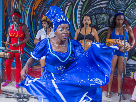 secular: HAVANA, CUBA - JULY 18 : Rumba dancer in Havana Cuba on July 18 2016. Rumba is a secular genre of Cuban music involving dance, percussion, and song. It originated in the northern regions of Cuba