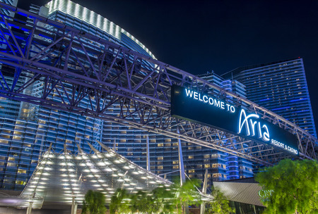 LAS VEGAS - JUNE 14 : The Aria Resort and Casino in Las Vegas on June 14 2016. The Aria is a luxury resort and casino opened on 2009 and is the worlds largest hotel to receive LEED Gold certification Editorial