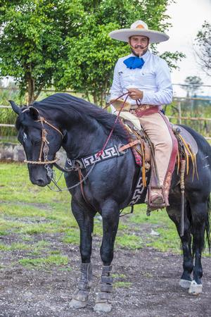sep: GUADALAJARA , MEXICO - SEP 01 : Charro participates at the 23rd International Mariachi & Charros festival in Guadalajara Mexico on September 01 , 2016.