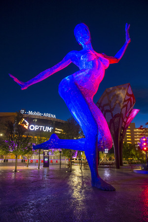 LAS VEGAS - JUNE 14 : The T-Mobile arena and the Bliss Dance sculpture in Las Vegas on June 14 2016.  The arena is located west of the Las Vegas Strip and has 20,000 seat capacity