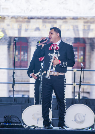 GUADALAJARA , MEXICO - AUG 28 : Mariachi performs on stage at the 23rd International Mariachi & Charros festival in Guadalajara Mexico on August 28 , 2016.