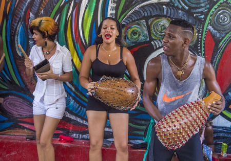genre: HAVANA, CUBA - JULY 18 : Rumba musicians in Havana Cuba on July 18 2016. Rumba is a secular genre of Cuban music involving dance, percussion, and song. It originated in the northern regions of Cuba