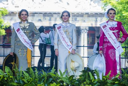 GUADALAJARA , MEXICO - AUG 28 : The ambasadors of the 23rd International Mariachi & Charros festival in Guadalajara Mexico on August 28 , 2016.