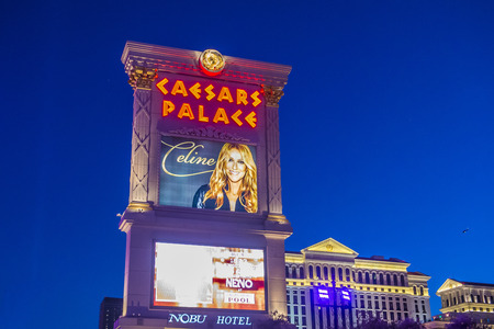 caesars palace: LAS VEGAS - OCT 05 : The Celine Dion show poster at Ceasars palace hotel on October 05, 2016 in Las Vegas. Celine has a tree-year contract to play 70 shows annually at the Caesars Palace Colosseum Editorial