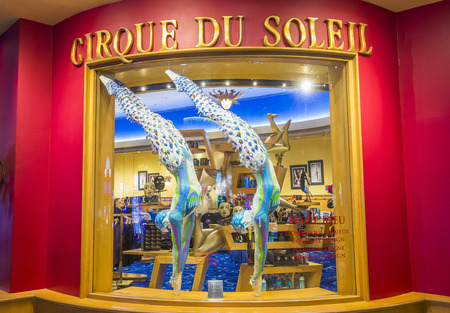 cirque: LAS VEGAS - OCT 04 : O theatre at the Bellagio hotel in Las Vegas on October 04 2016. O is a Cirque du Soleil stage production written and directed by Franco Dragone.